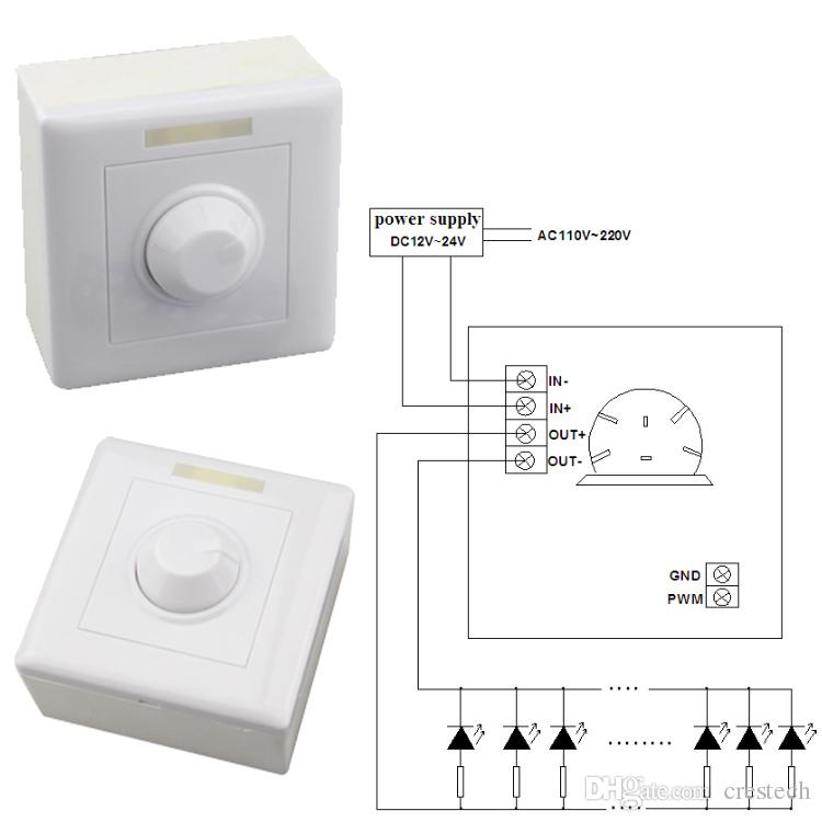 Dimmer DC 12V 24V 8A IR Remote LED Light Dimmer 12 Key Adjustable Brightness Control Screw