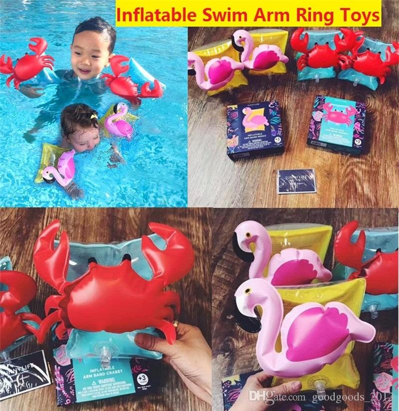 1 Set Baby Kids Cute Arm Rings Crab Baby Water Cartoon Crab Swim Ring Inflatable Pool Float Training Tool Children Outdoor Tool Luggage & Bags