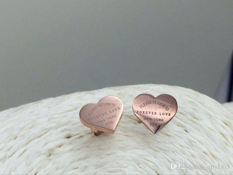 뜨거운 판매 영원히 사랑 귀걸이 316L 스테인레스 스틸 사랑 스터드 귀걸이 심장 샤프 귀걸이 여성 남성 커플 보석 도매 jewlery 도매