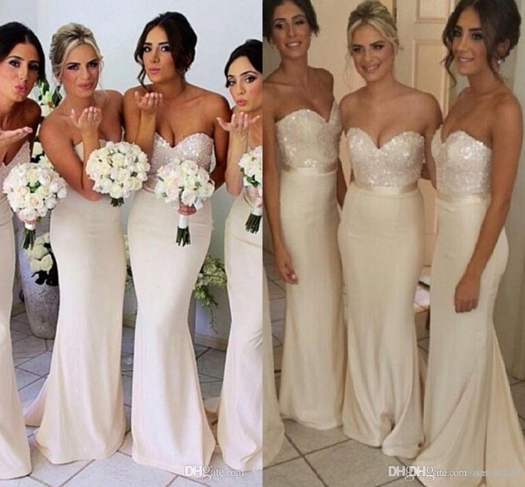 Whiteivory sequin mermaid bridesmaid dresses for wedding whiteivory sequin mermaid bridesmaid dresses for wedding sweetheart neckline sleeveless backless floor length formal party gowns pale yellow bridesmaid ombrellifo Choice Image