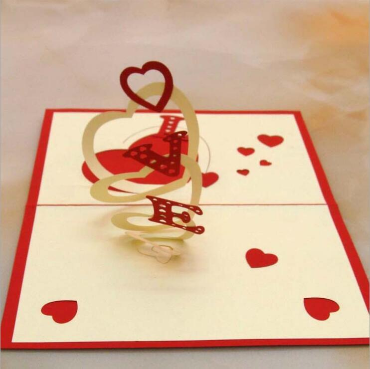valentine's day cute pierced courtship cards 3d heart love, Ideas