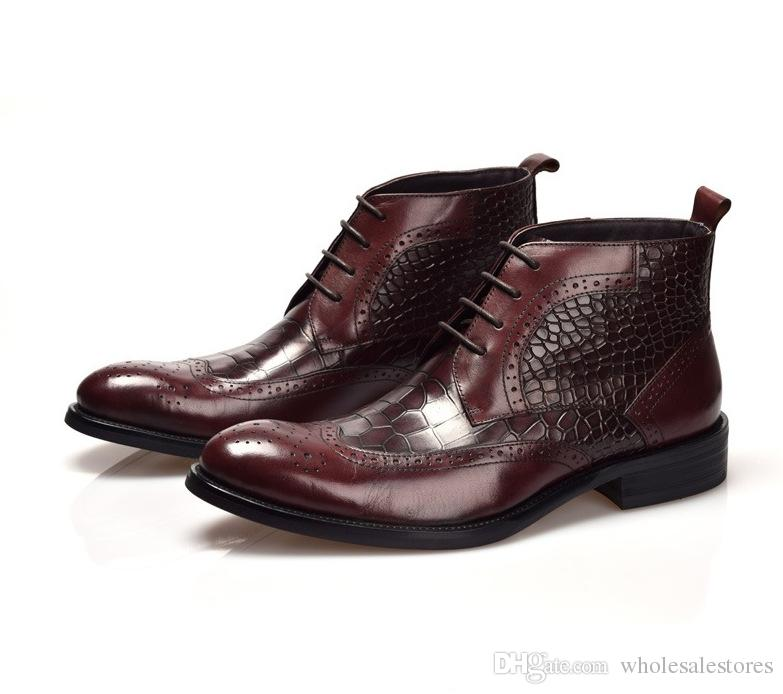 Crocodile Grain Black / Brown Tan Wedding Shoes Mens Ankle Boots ...