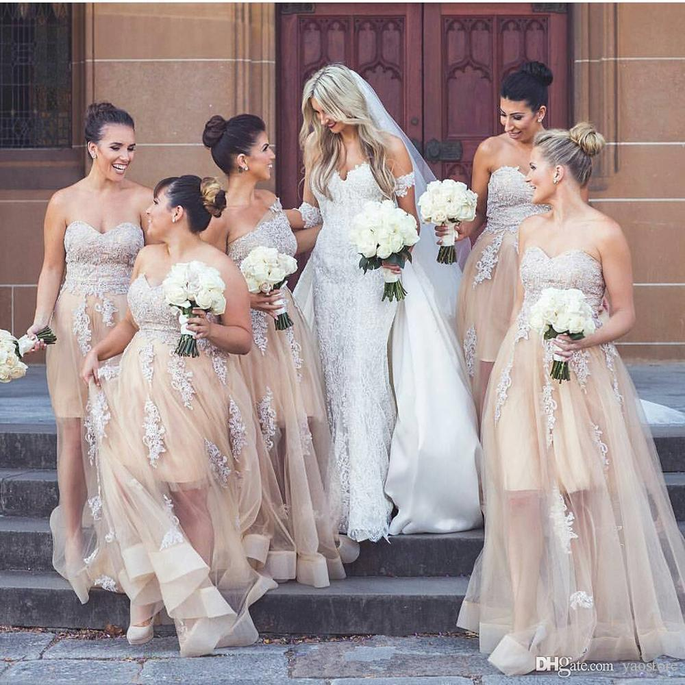 New fashion champagne tulle long bridesmaid dresses 2017 lace new fashion champagne tulle long bridesmaid dresses 2017 lace appliqued sweetheart wedding guest dress plus size maid of honour dresses black bridesmaids ombrellifo Gallery