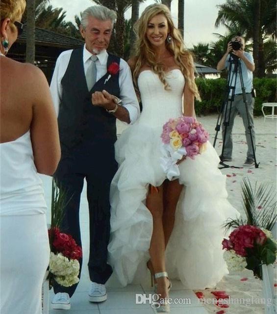 Suosikki 2017 High Low Short Front Long Back Beach Wedding: Discount New Arrival Beach Wedding Dress Sweetheart High