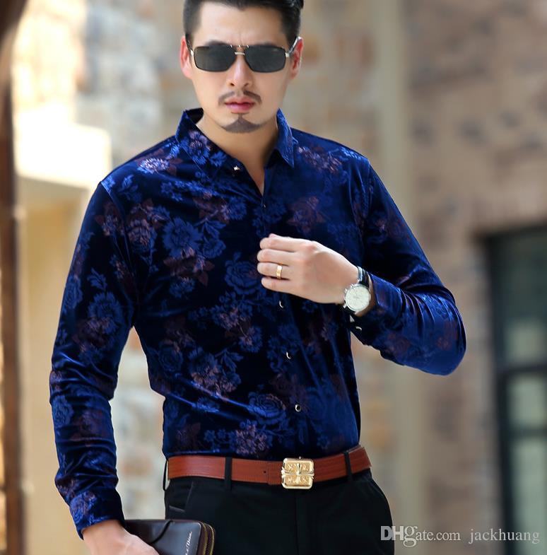 2018 mens shirt long sleeve male business casual fashion formal velour shirts slim chemise homme. Black Bedroom Furniture Sets. Home Design Ideas