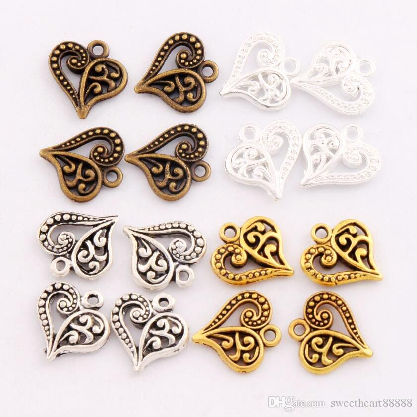 Flower Pattern Heart Charms Antique Silver/Gold/Bronze Pendants Jewelry DIY Fit Bracelets Necklace Earrings L919