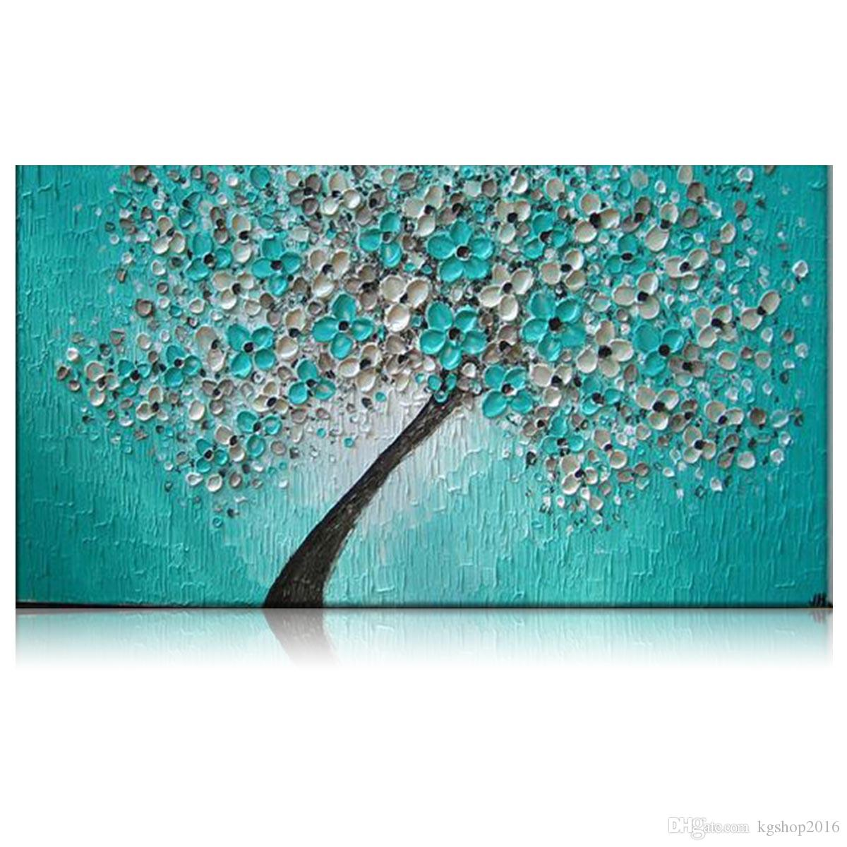 2018 kgtech thick textured teal green floral tree acrylic