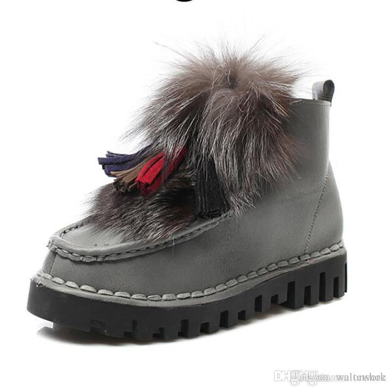 Botas de nieve de piel de zorro real natural de mujer Botas de tobillo cortas de cuero genuino bajo Botas de piel Mujer de peluche Zapatos de invierno