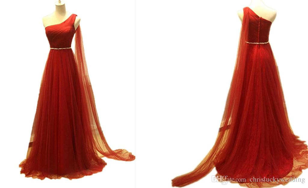 Red Bridesmaid Dresses Long Wedding Guest Tulle Prom Dresses 2017 One Shoulder With Flying Sash A Line Women Evening Gowns