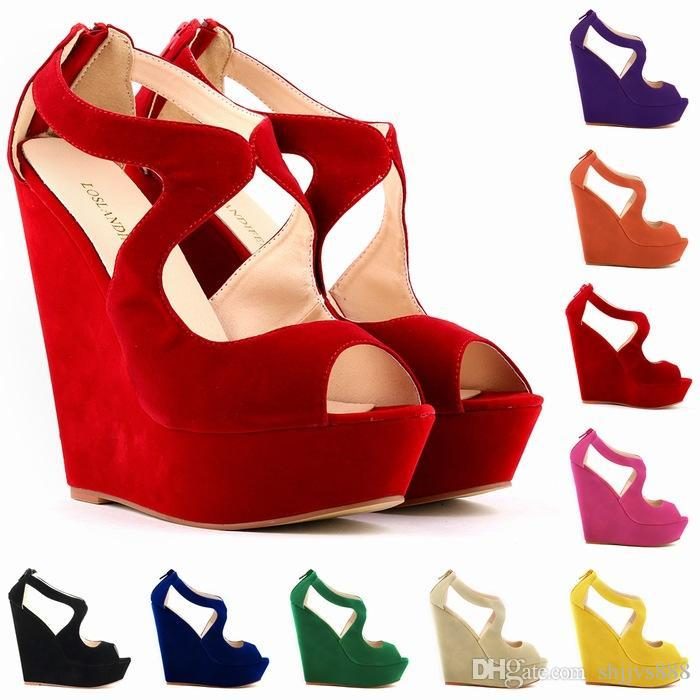 8dd6f725fd49 Sapato Feminino Womens Ladies Faux Suede Platform Peeptoe High Wedges High  Heel Shoes Size 5 6 7 8 9 10 11 D0086 Cheap Sandals Summer Sandals From  Shjjvs888 ...
