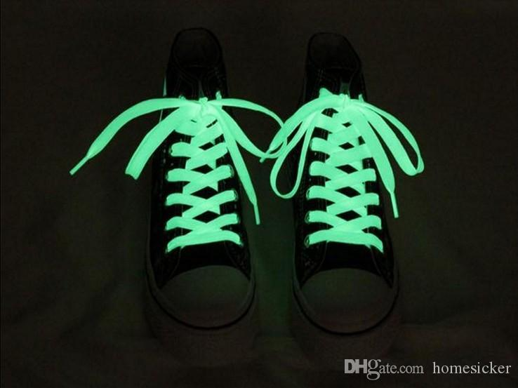 Brand New Luminous Glow In The Dark Shoelace Flat Athletic Sport Boots Shoe Laces Strings