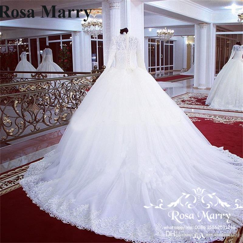 Victorian Islamic Ball Gown Lace Wedding Dresses 2020 High Neck Long Sleeves Vintage Lace Pearls Turkish Arabic African Vestido De Novia
