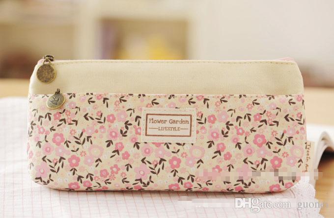 New Fashion pequeno padrão floral moda multicamadas lápis duplo zíper caso papelaria sacos Pouch Maquiagem transporte Kit gratuito