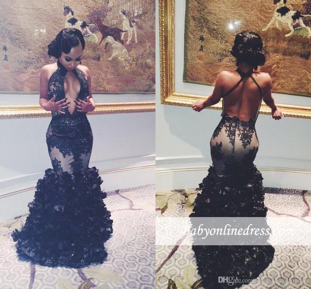 c7f59f69b2e 2018 New Sexy Black Halter Floral Mermaid Prom Dresses Sexy Backless Prom  2K17 Tulle Appliques 3D Flowers Floor Length Party Evening Dresses Formal  Dresses ...