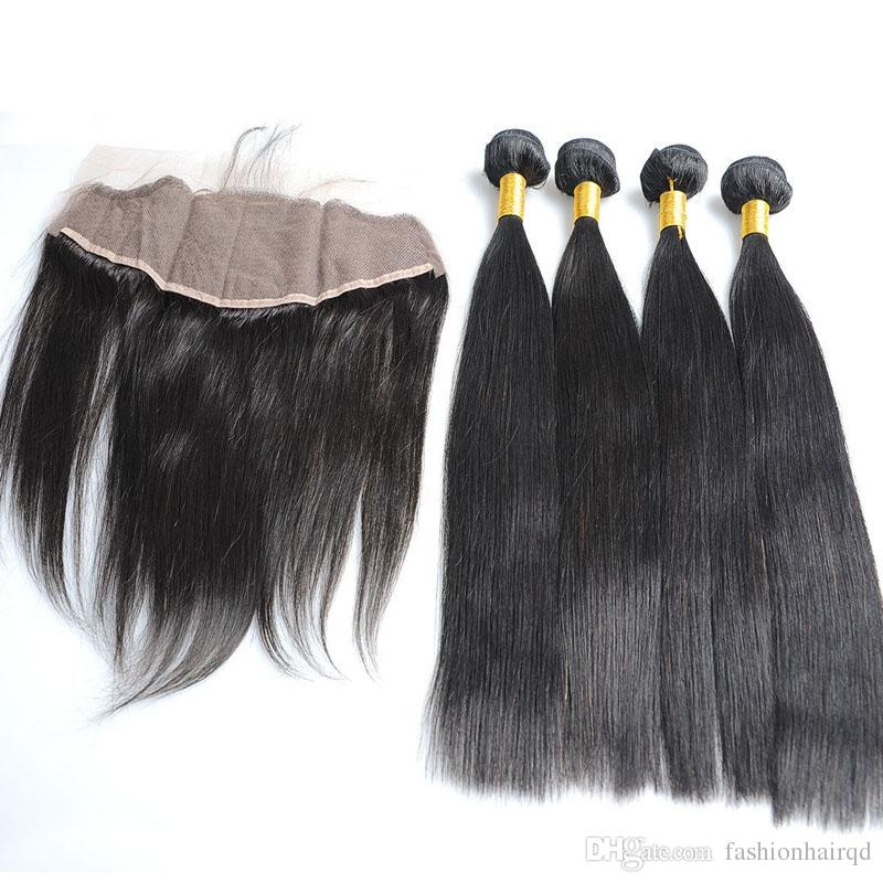 Brazilian Virgin Hair Bundles With Lace Frontal Closure Straight Unprocessed Human Hair Weaves Weft Double Extensions Natural Color