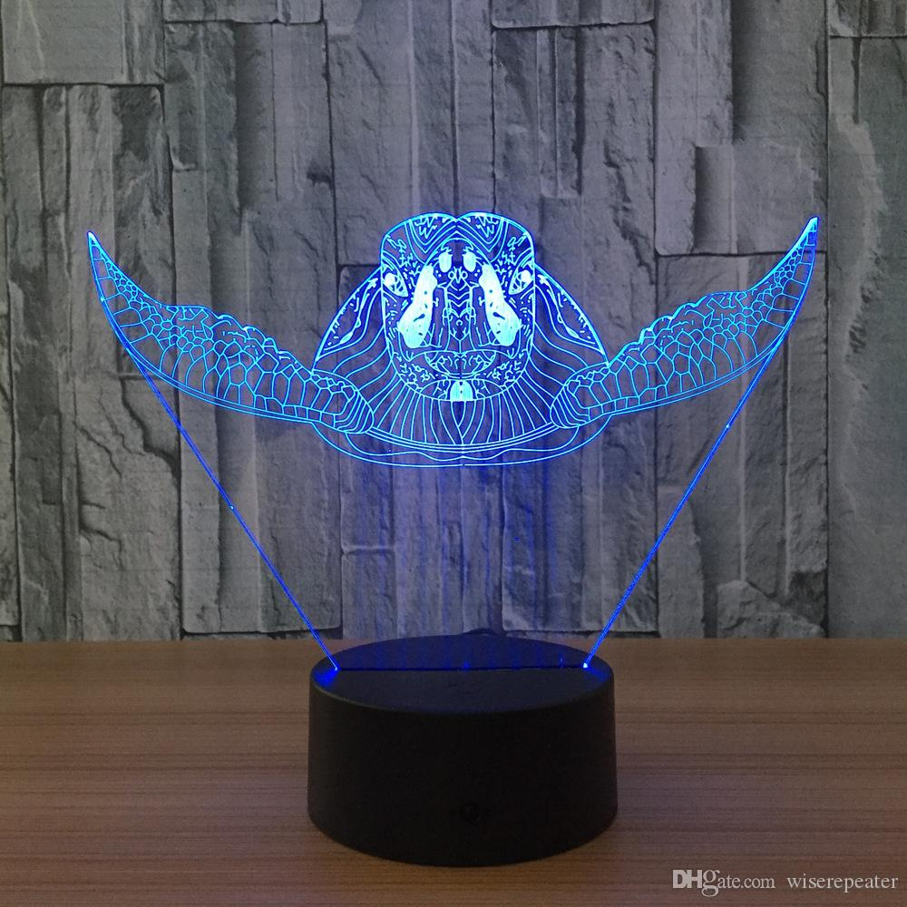 3D Turtle Illusion Lamp Night Light DC 5V USB Charging 5th Battery Wholesale Dropshipping Retail Box