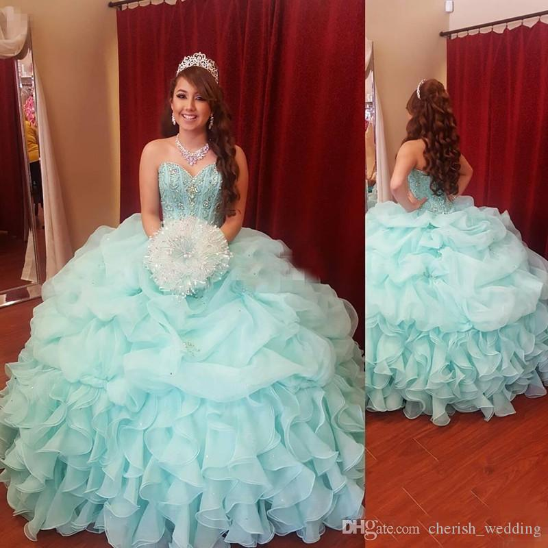 1a829b70b6 Mint Green Ball Gown Quinceanera Dresses 2016 Plus Size Prom Dresses  Crystal Beaded Sequins Sweet 16 Dresses Lace up vestidos de quinceanera