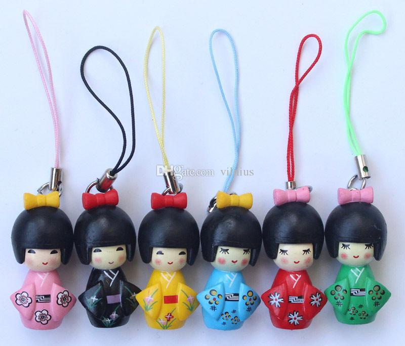 الحار! / التصميم الكلاسيكي اليابانية كوكيشي دمية الهاتف المحمول حزام سحر / الهاتف المحمول الأشرطة Wholeale