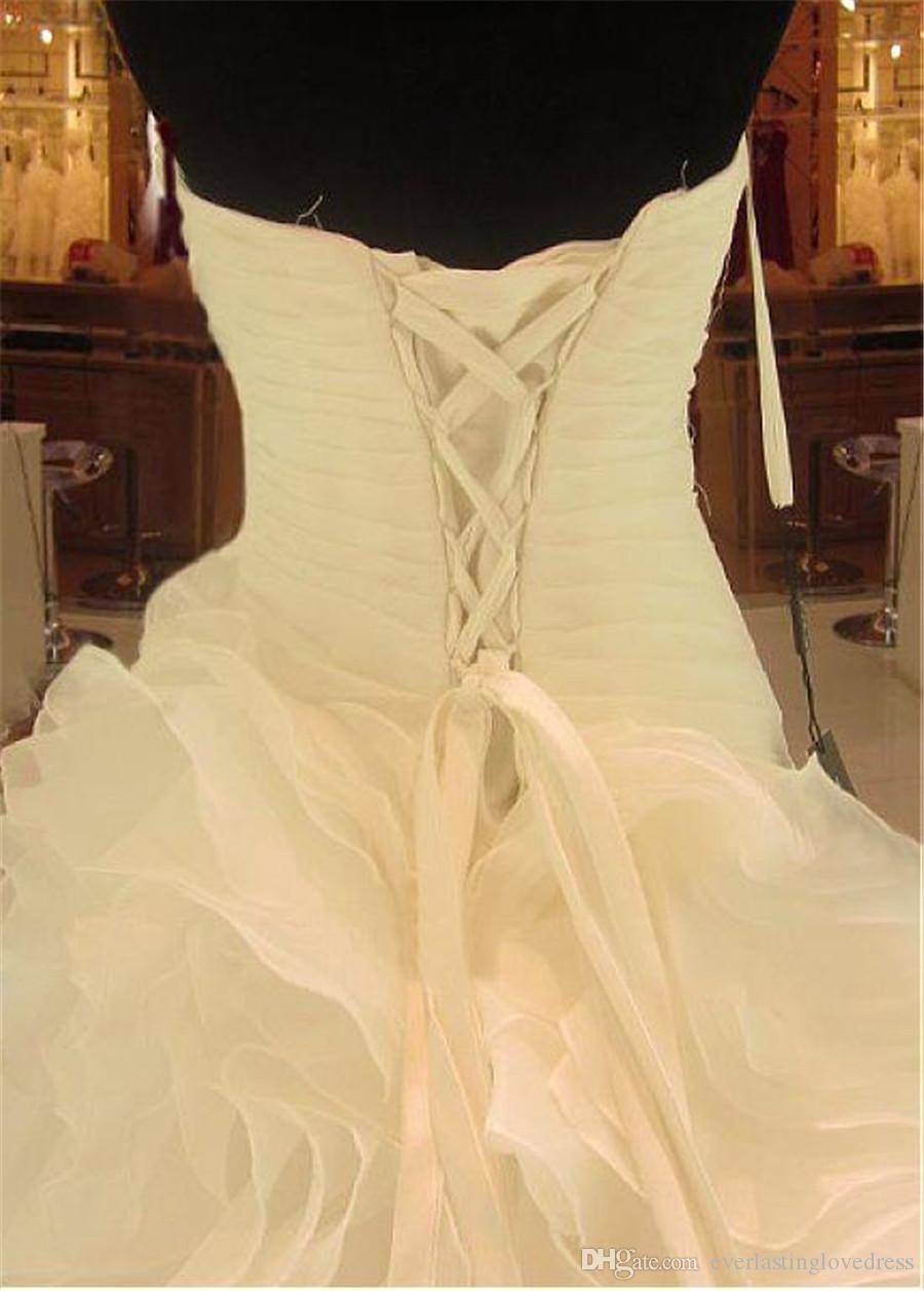 Romántico con volantes de organza escote asimétrico cintura una línea de reales encaje vestido de novia hasta vestidos de boda listo para el envío