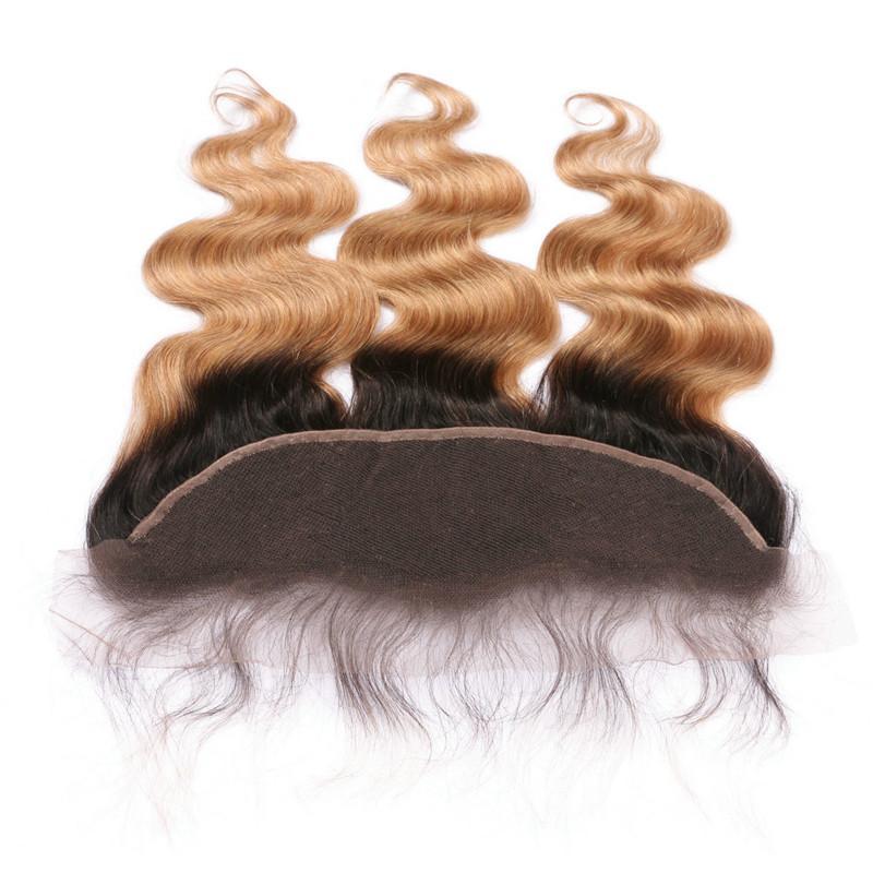 Dos tonos 1B / 27 Honey Blonde Ombre virginal tramas del pelo con cierre frontal del cuerpo Wave Strawberry Blonde Ombre 13x4 frontal del cordón con 3Bundles