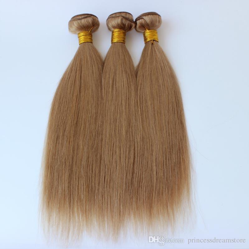 Bal Sarışın İnsan Saç Demetleri Fırsatlar # 27 Çilek Sarışın İnsan Saç Uzantıları 3 Adet Çok Açık Kahverengi Renk Düz Saç örgüleri
