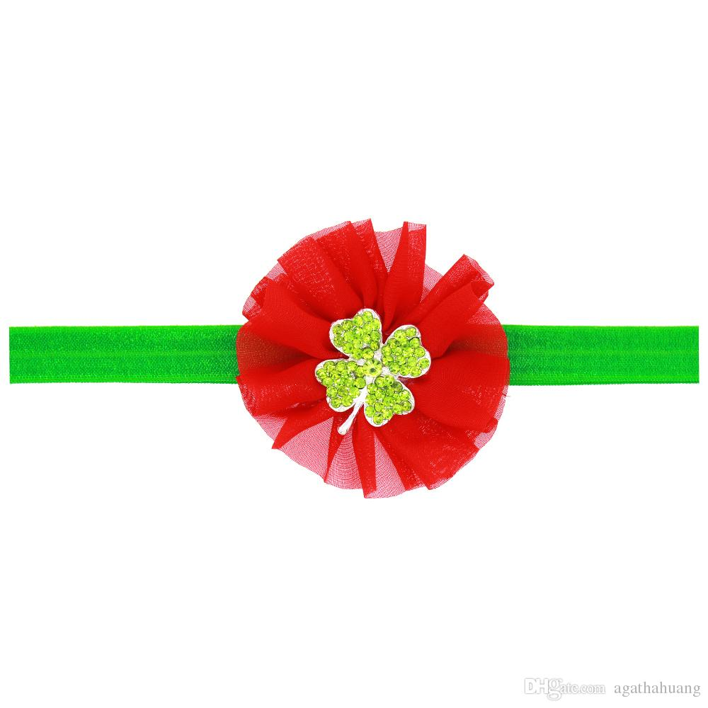 Baby Girl Irish Shamrock Headband Children Elastic Chiffon Flower Hair Band Three-Piece Hair Accessory Sparking Rhinestone Photography Props