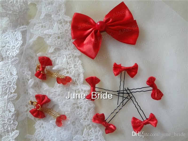 Großhandel Schöne Rote Schleife Clip Nette Kleine Schleife Haarnadel Mit Ohrringe Fabrik Real Photo Günstigen Preis Chinesische Cheongsam Hochzeit