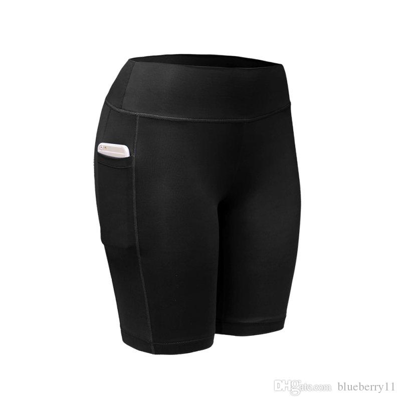 Fashion- Quick Dry Women Sports Shorts Women Elastic Black White Running Fitness Gym Shorts With Pocket Fitness Workout Shorts
