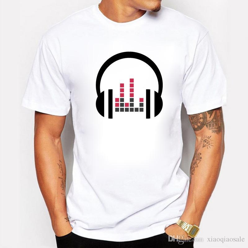 64722ee05aa2e New Summer DJ Cartoon Music Wave Printed T-shirts Men Casual Fit O-Neck  Cotton Men T Shirts Hip Hop Short Sleeve Tees 2XL T Shirt T Shirt Men  Cotton O-neck ...