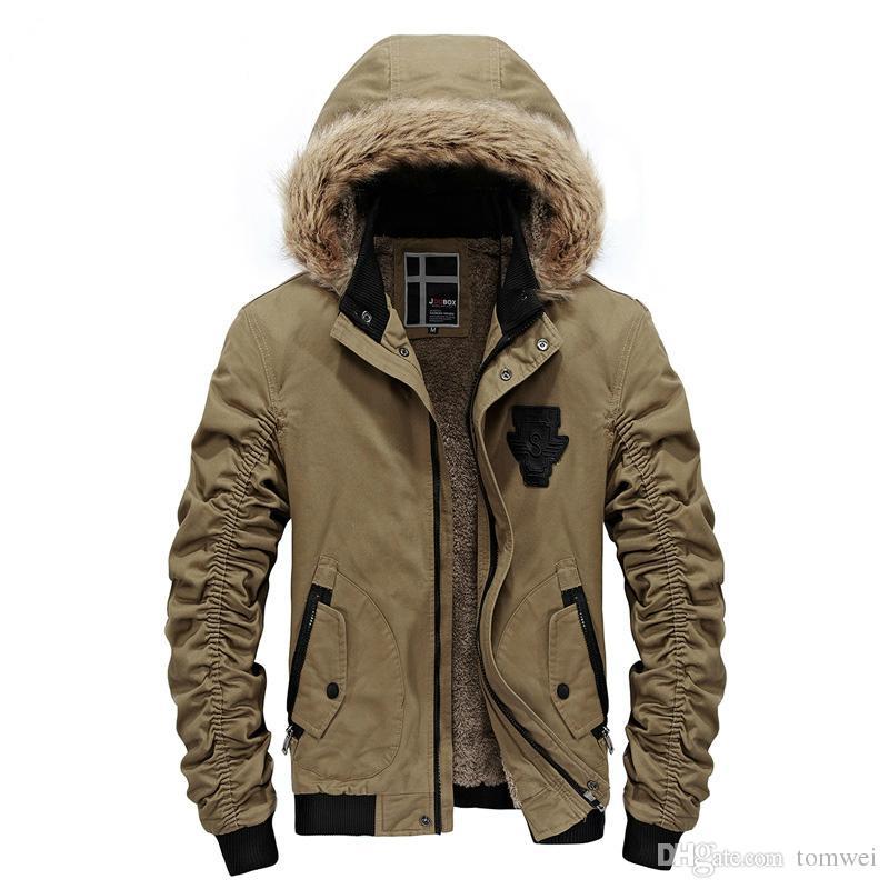 Men Down Parkas Jacket Fur Hood Winter Coat Snow Overcoat Woolen ...