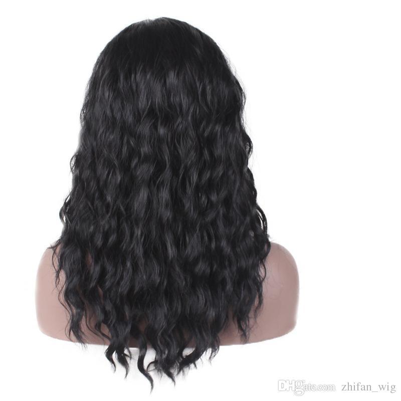 ZF 가발 18inch 합성 가발 인간의 머리가 발에 대 한 220G 환기 Hairnet 블랙 곱슬 Yaki 웨이브 패션 헤어 맞는 모두 조정 가능한 크기