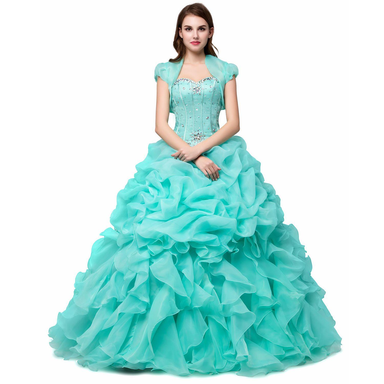 großhandel günstige ballkleider süße 16 lange hellgrün / rosa / gelb  mädchen quinceanera kleider mit jacke wrap vestidos de 15 anos formale prom