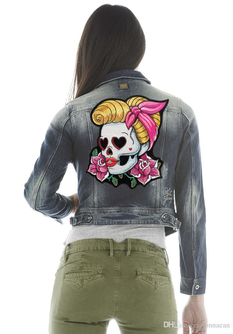 Loving Eyes Pin Up Girl Skull & Pink Rose Patch, Ladies Back Embroidered Iron On Patches 7*8.5 INCH