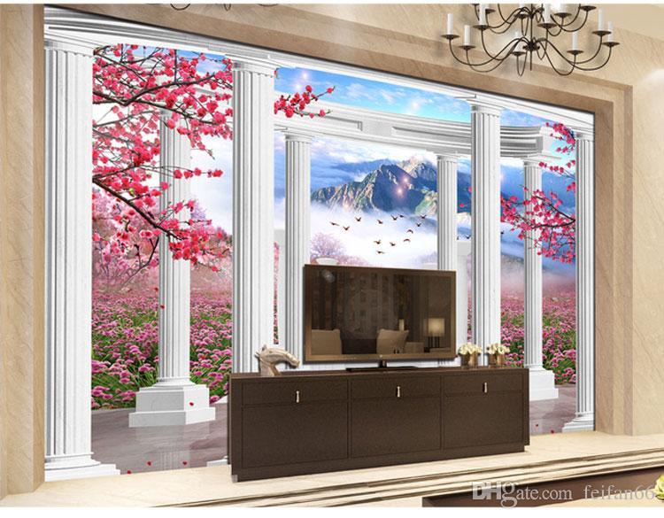 3D Room Wallpaper Custom Mural Non-woven European Style Roman Column 3D Stereoscopic Living Room TV Background Home Wall Paper