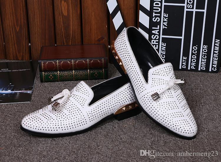 37-46 Alta Qualidade Homens Sapatos De Couro Genuíno Oxfords De Casamento Branco de Cristal Strass Mens Casual Mocassins Flats Zapatos De Mujer
