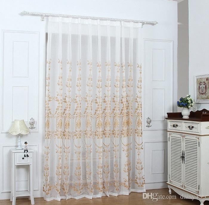 European Floral Embroidered Linen Sheer Curtains Panels Drapes