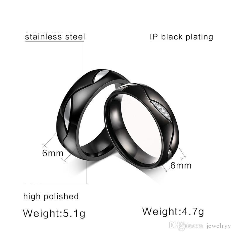 Luxury 18k Gold Plated Crystal Rhinestone Rings Titanium Stainless Steel Ring Lover Wedding Rings for Women and Man Engagement Party Jewelry