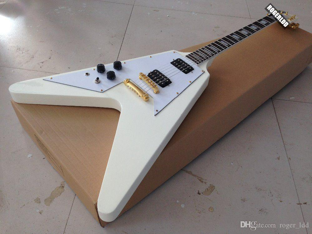 custom left handed alpine white flying v electric guitar black pickguard gold hardware white mop. Black Bedroom Furniture Sets. Home Design Ideas