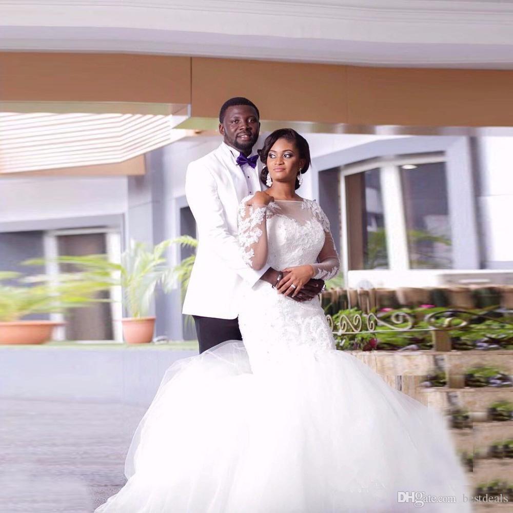 Vestidos De Novia 2017 Latest Design African Plus Size Wedding Dresses Scoop Long Sleeve Lace Mermaid Wedding Gowns Bride Dress