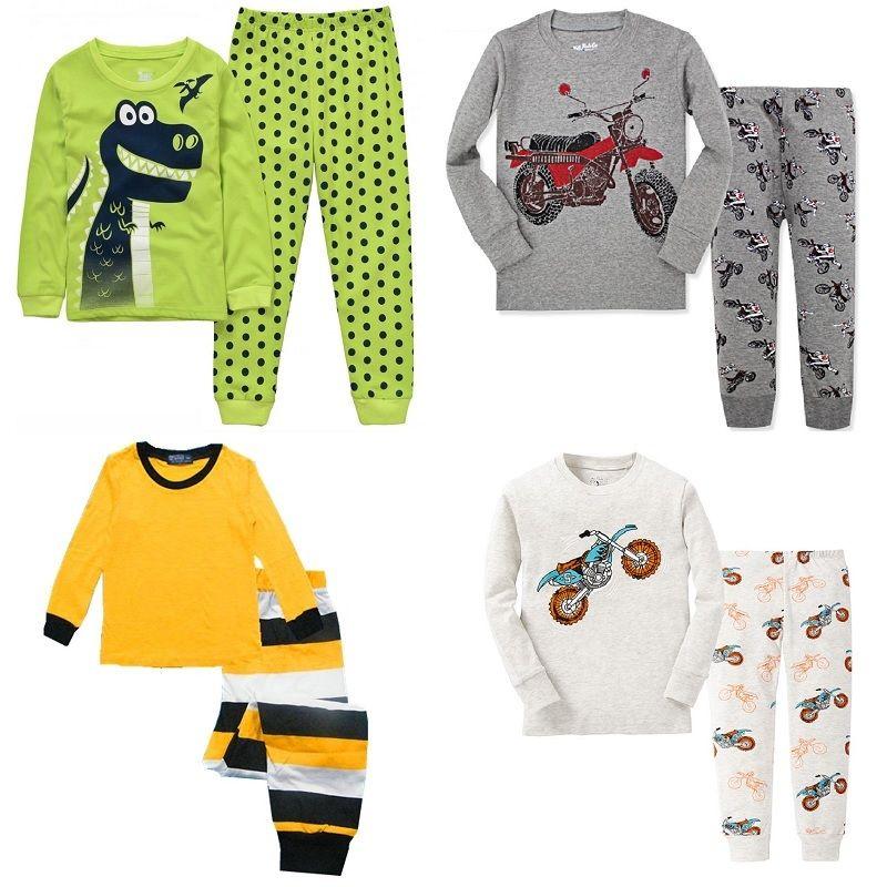 cc52edd8e Dino Boys Sleepwear Suits 100% Cotton Long Children Clothes Sets ...