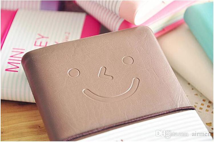 Bonito Colorido Mini Caderno De Couro De Sorriso 7.5 * .12.5 CM 192 Folhas de Fio Encadernado 90 g / pc Diário de Moda para Negócios e Estudantes