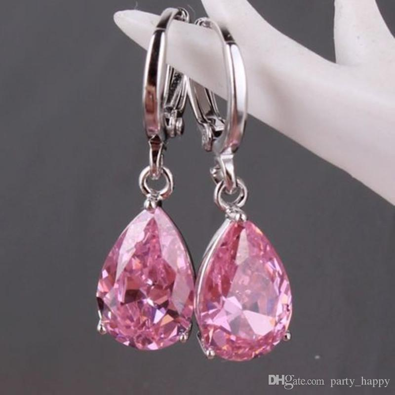 Jewelry Fashion 925 Silver Hottest Style Amethyst Zircon Earrings Gift Luckyshine Gem Dangle Earrings Natural Stone Bead Cha
