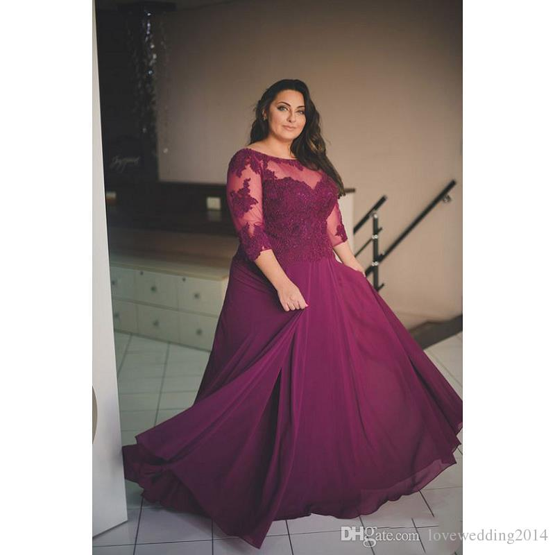 Burgundy Plus Size Prom Dresses With Sleeves 2018 Vestido De Festa