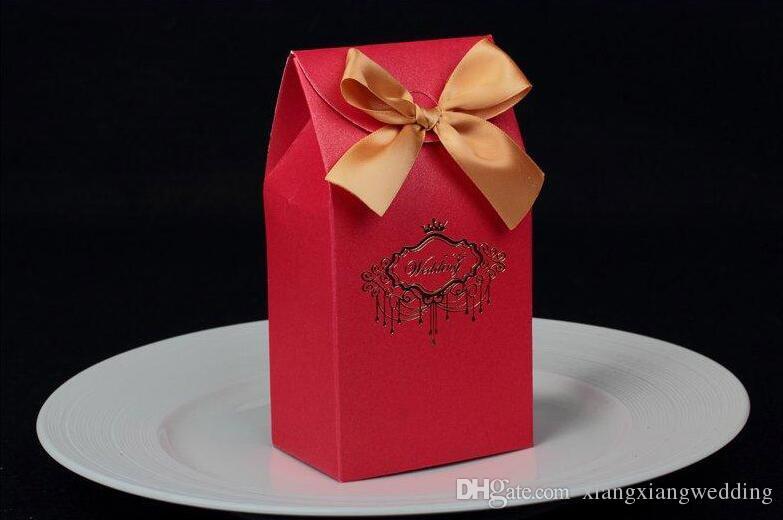 Favor de la boda caja del caramelo de la boda del estilo chino del bolso del caramelo con un patrón de la perla de alta calidad wtih Impreso