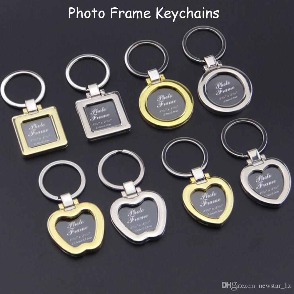 Mini Photo Frame Keychains Metal Zinc Alloy Insert Photo Picture Frame Keychain Heart Round Apple Shape Keyrings Couples Keyring Gift