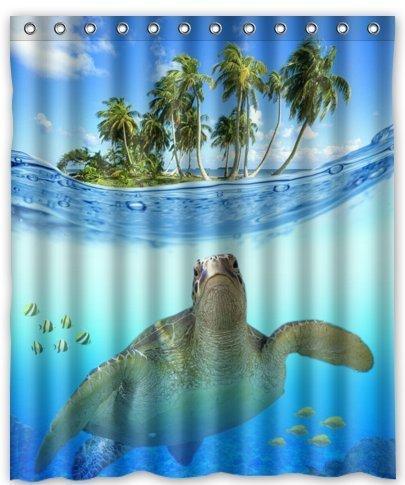 2018 Custom Underwater Sea Turtle Polyester Fabric Bathroom Decor ...