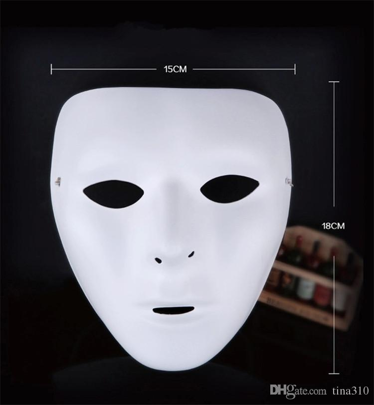 Chaude 8 couleurs Hip Hop Rue De Danse masque Adulte Hommes Plein Visage partie masque Costume Mascarade balle en plastique Plaine épais masques IB379