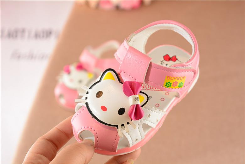 Wholesale 2017 cute cartoon kitty summer prewalker sandals shoes for baby girls littler kids products pink red 15-19