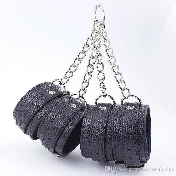 Fake Leather Bondage Gear Handcuff and Ankle Cuffs with Chain BDSM Hand Cuffs Shackles Restraints Sex Games Toys Fixed Harness Slave Fetter