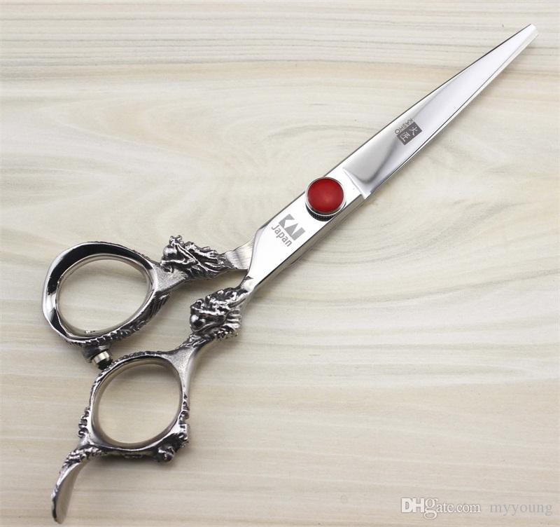 Tijera de la peluquería de 6 pulgadas Maneta grande del dragón Tijeras del adelgazamiento del corte del acero inoxidable profesional 440C de Japón Envío libre.